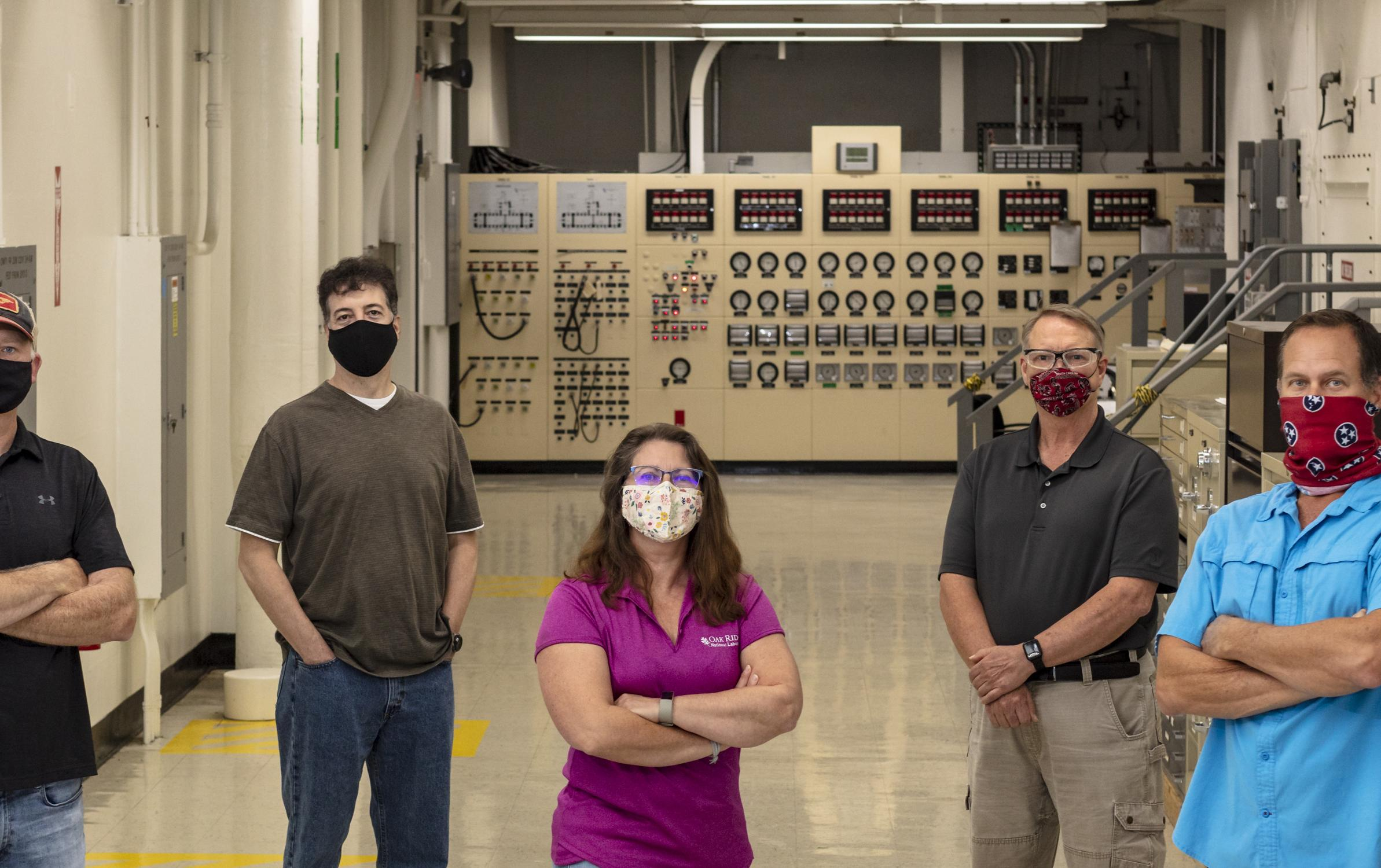 Californium-272 production team. Standing left to right - John Courtney, Dan Bettinger, Julie Ezold, Ed Smith, and Scott White.